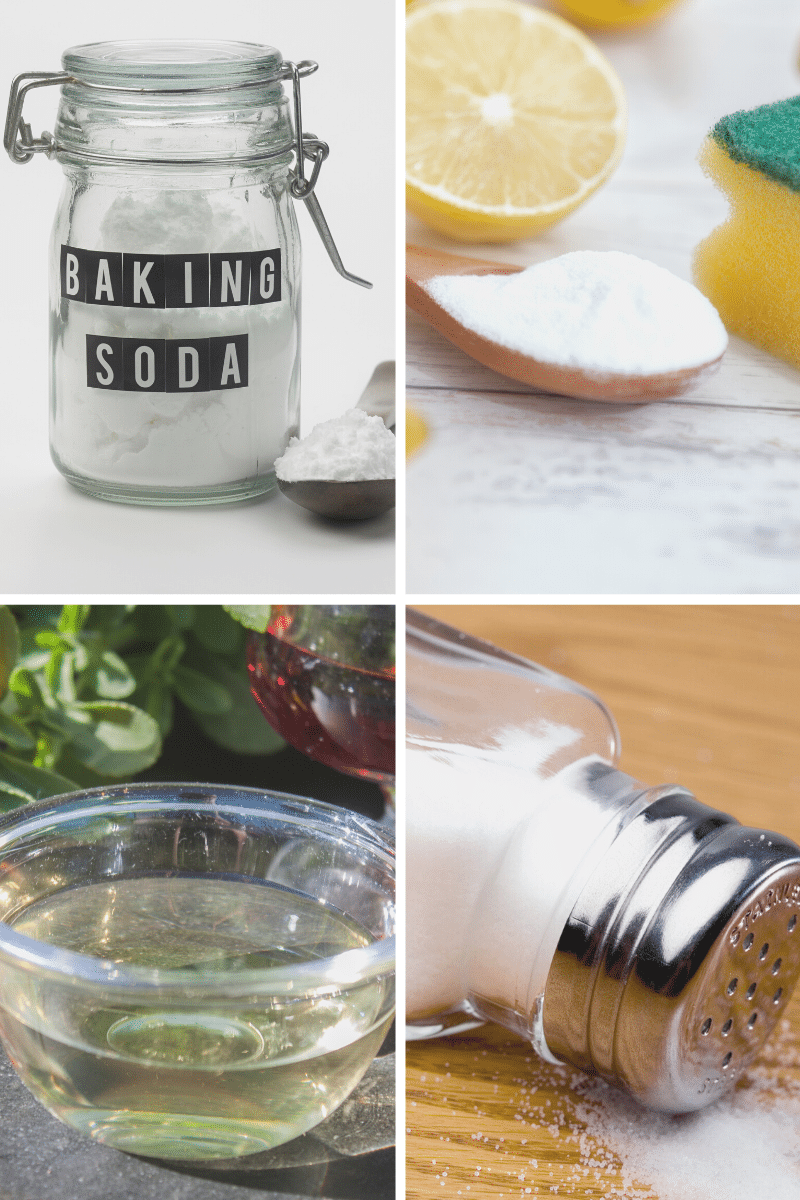 collage of ingredients for healthy homemade cleaning products like baking soda vinegar lemons salt